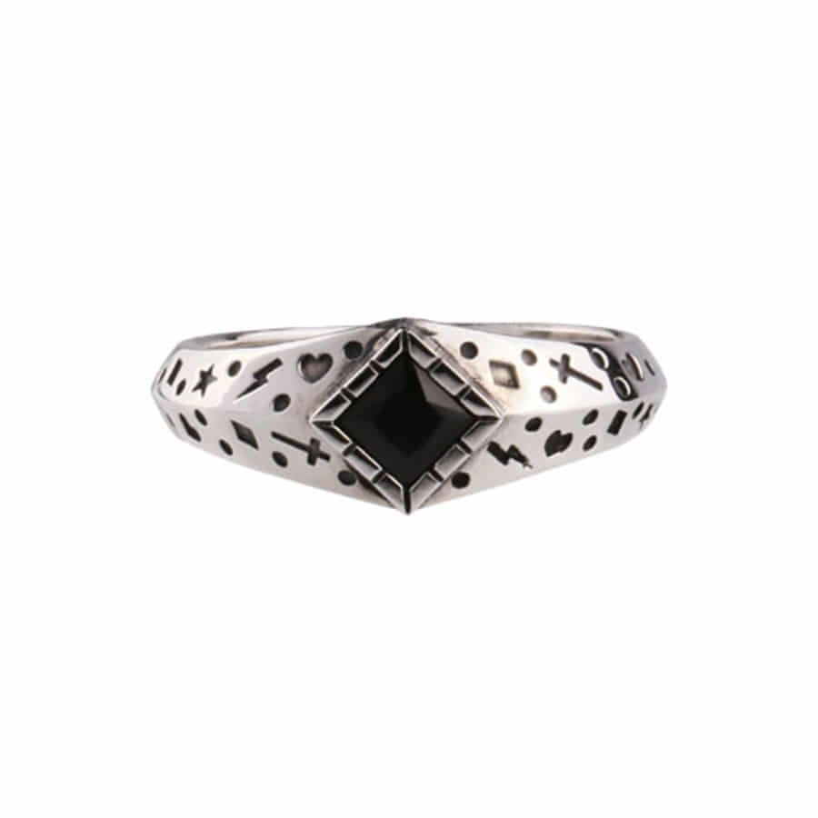 Oldschool Dot Ring 1 -onyx