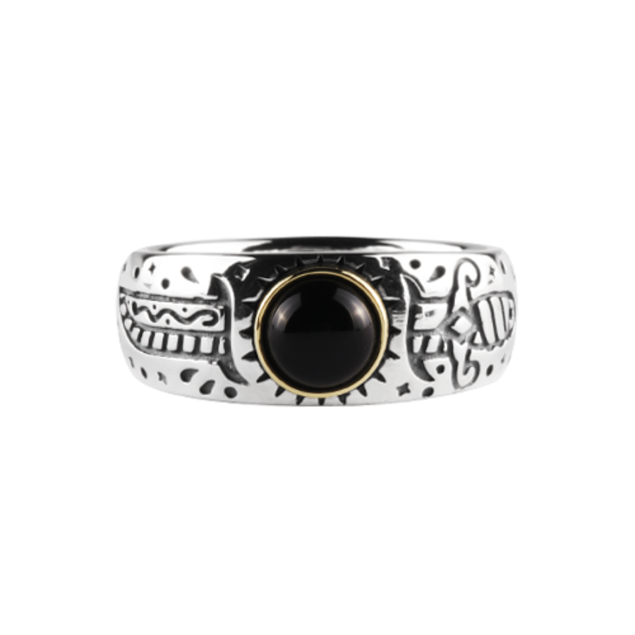 Oldschool Dagger Stone Ring -Black