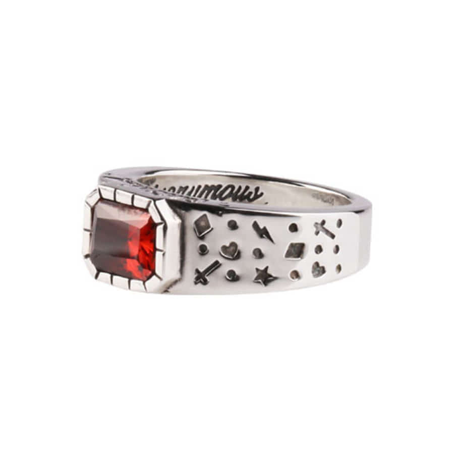 Oldschool Dot Ring 2 -red